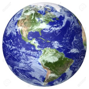 12464077-Earth-globe-cloud-map-Side-of-the-North-and-South-America-Stock-Photo