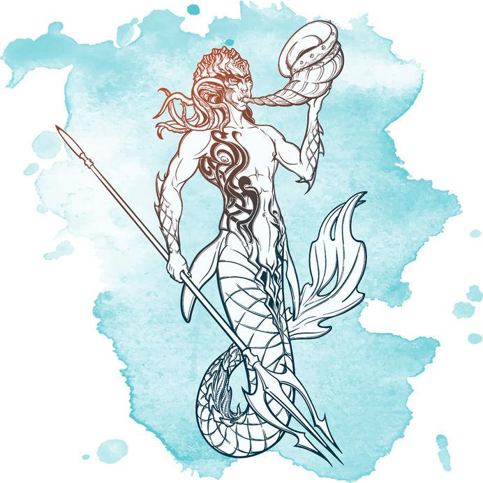 Meerman met drietand, het Neptunus-symbool
